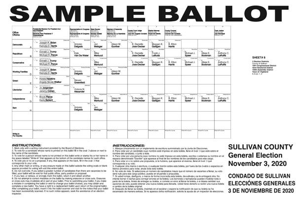Town of Highland sample ballot