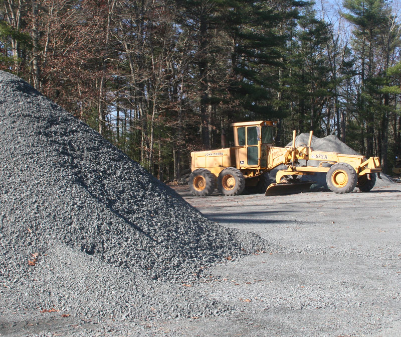 gravel pile and paver